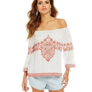 Gianni Bini Embroidered off shoulder Gray Blouse L